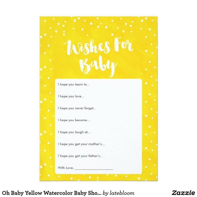 Large Size of Baby Shower:stylish Baby Shower Wishes Picture Inspirations Baby Shower Wishes Oh Baby Yellow Watercolor Baby Shower Wishes Card Yellow Baby Oh Baby Yellow Watercolor Baby Shower Wishes Card Have Fun At Your Baby Shower With An Adorable Yellow Baby Shower Wishes Card Have Your Guests Fill This