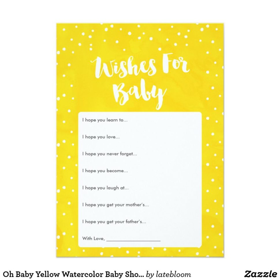 Medium Size of Baby Shower:stylish Baby Shower Wishes Picture Inspirations Baby Shower Wishes Oh Baby Yellow Watercolor Baby Shower Wishes Card Yellow Baby Oh Baby Yellow Watercolor Baby Shower Wishes Card Have Fun At Your Baby Shower With An Adorable Yellow Baby Shower Wishes Card Have Your Guests Fill This