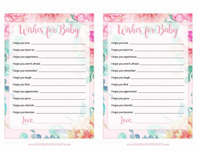 Large Size of Baby Shower:stylish Baby Shower Wishes Picture Inspirations Baby Shower Wishes Wishes For Baby Cards Printable Download Pink Floral Spring Baby Shower Activity B33001