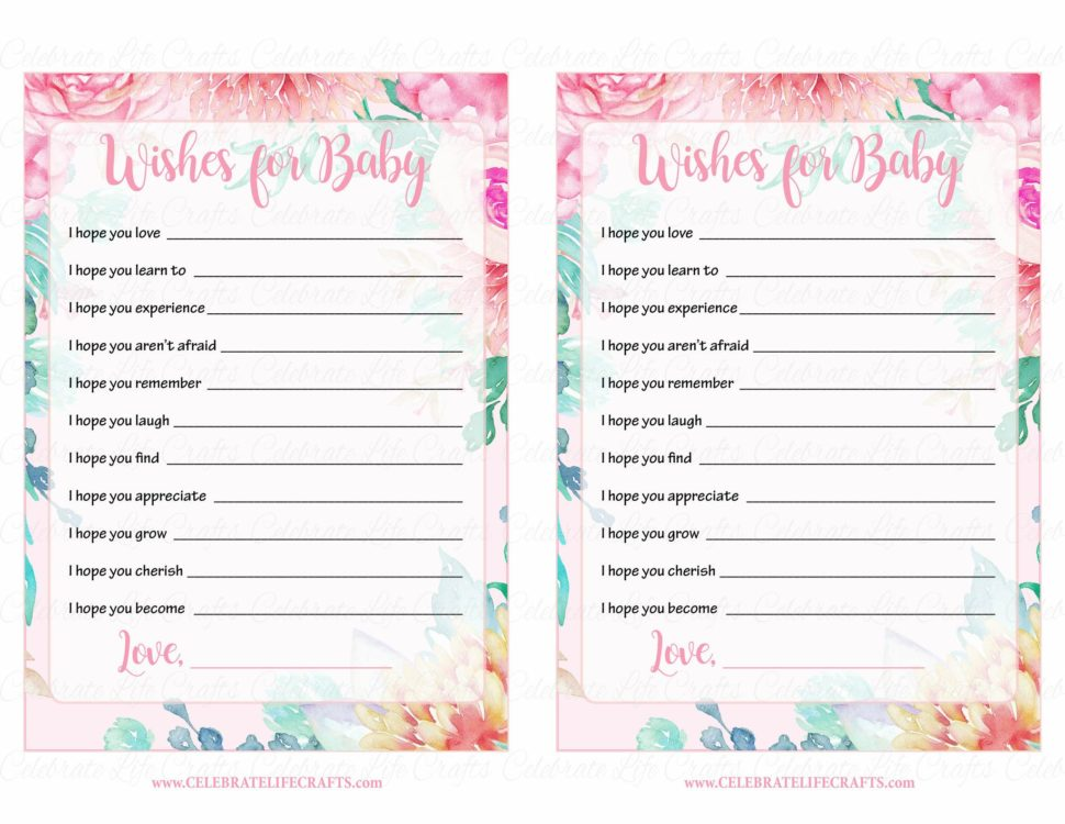 Medium Size of Baby Shower:stylish Baby Shower Wishes Picture Inspirations Baby Shower Wishes Wishes For Baby Cards Printable Download Pink Floral Spring Baby Shower Activity B33001
