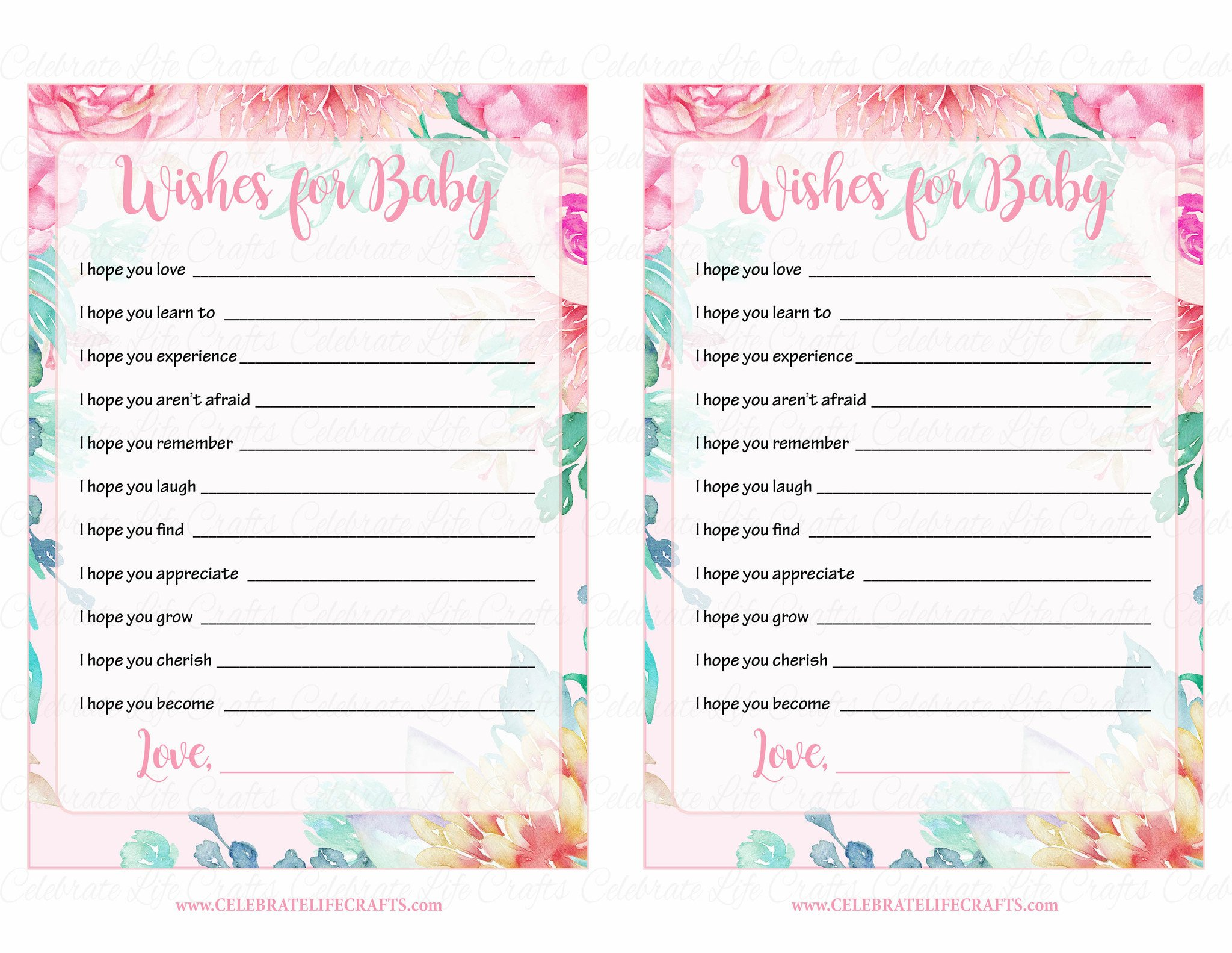 Full Size of Baby Shower:stylish Baby Shower Wishes Picture Inspirations Baby Shower Wishes Wishes For Baby Cards Printable Download Pink Floral Spring Baby Shower Activity B33001