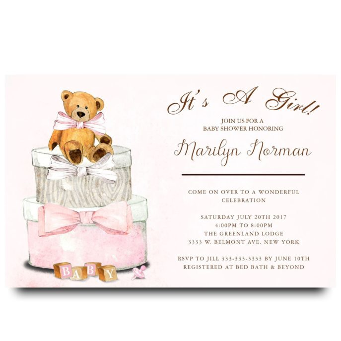 Large Size of Baby Shower:63+ Delightful Cheap Baby Shower Invitations Image Inspirations Cheap Baby Shower Invitations Adornos Para Baby Shower Girl Baby Shower Baby Shower Para Niño Baby Shower Video Teddy Bear Gift Boxs Pink Teddy Bear Watercolor Baby Shower