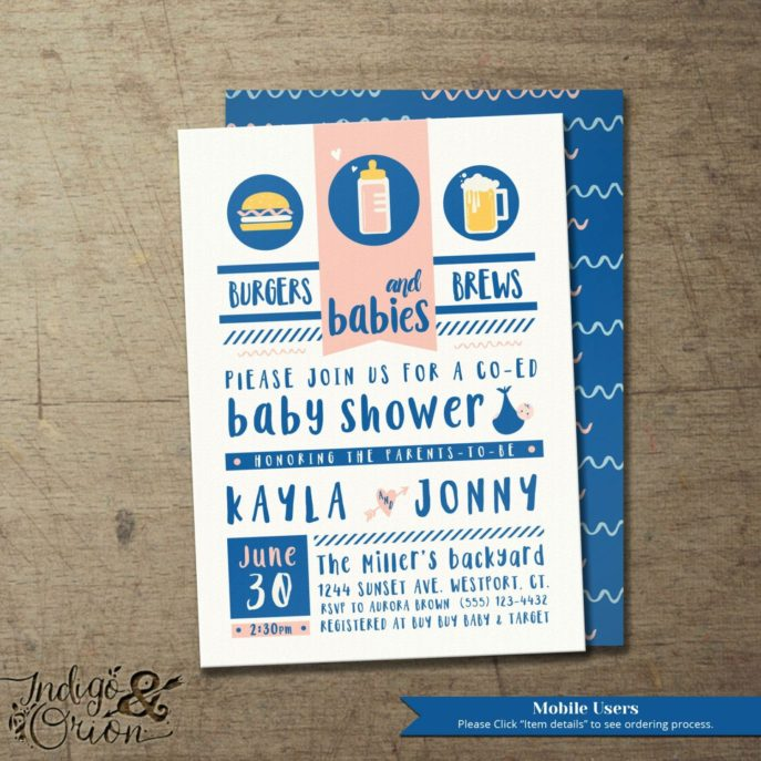 Large Size of Baby Shower:precious Coed Baby Shower Picture Designs Coed Baby Shower Custom Design Baby Shower Invitations Elegant Burgers Brews And Babies Coed Baby Shower Invitation Babyq