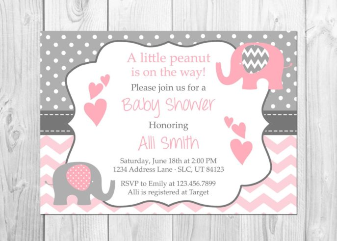 Large Size of Baby Shower:inspirational Elephant Baby Shower Invitations Photo Concepts Elephant Baby Shower Invitations Baby Shower Table Ideas Baby Shower Templates Baby Shower Messages Baby Shower Party Favors Pink And Grey Elephant Baby Shower Invitation Its A Elephant Chevron Pink Little Peanut Baby Shower Invitation Baby Shower By
