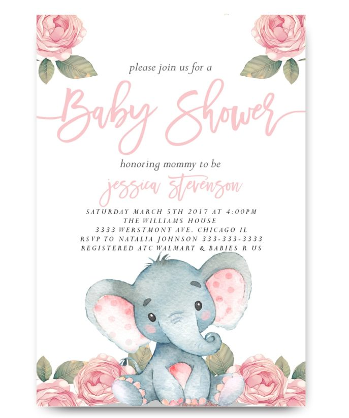 Large Size of Baby Shower:inspirational Elephant Baby Shower Invitations Photo Concepts Elephant Baby Shower Invitations Elephant Baby Shower Invitation Pink Floral Elephant