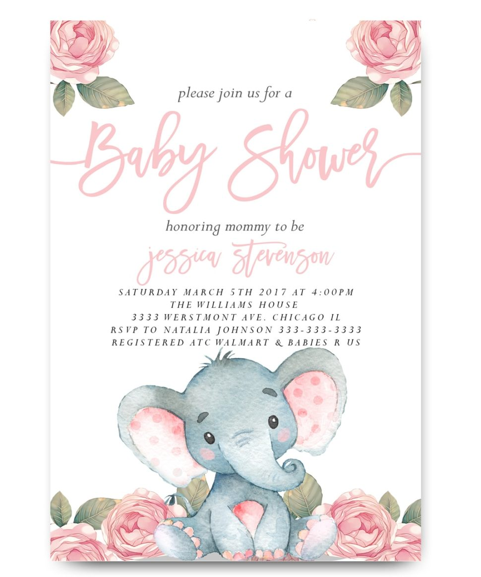 Medium Size of Baby Shower:inspirational Elephant Baby Shower Invitations Photo Concepts Elephant Baby Shower Invitations Elephant Baby Shower Invitation Pink Floral Elephant