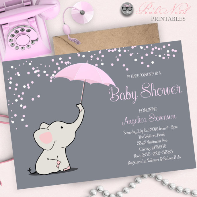 Large Size of Baby Shower:inspirational Elephant Baby Shower Invitations Photo Concepts Elephant Baby Shower Invitations Pink Elephant Baby Shower Invitation Elephant Holding Umbrella Invitation