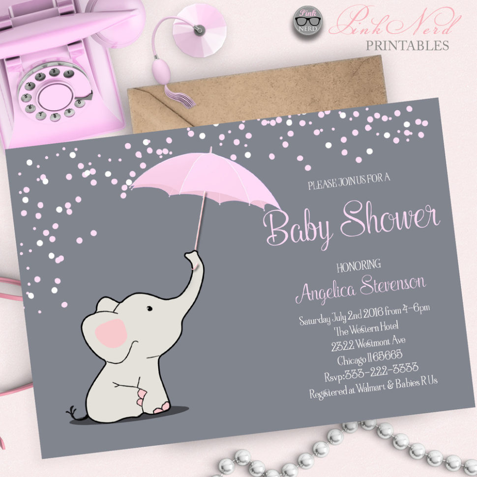 Medium Size of Baby Shower:inspirational Elephant Baby Shower Invitations Photo Concepts Elephant Baby Shower Invitations Pink Elephant Baby Shower Invitation Elephant Holding Umbrella Invitation