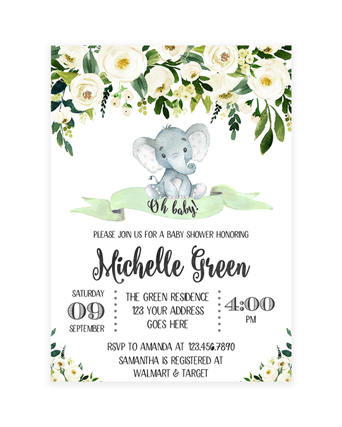 Large Size of Baby Shower:inspirational Elephant Baby Shower Invitations Photo Concepts Elephant Baby Shower Invitations White And Green Floral Elephant Baby Shower Invitation Printable