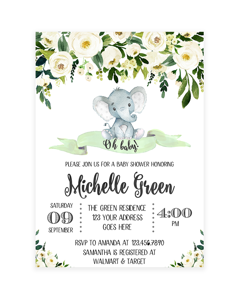 Full Size of Baby Shower:inspirational Elephant Baby Shower Invitations Photo Concepts Elephant Baby Shower Invitations White And Green Floral Elephant Baby Shower Invitation Printable